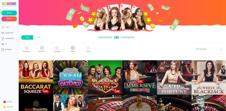 Spinia Casino Website