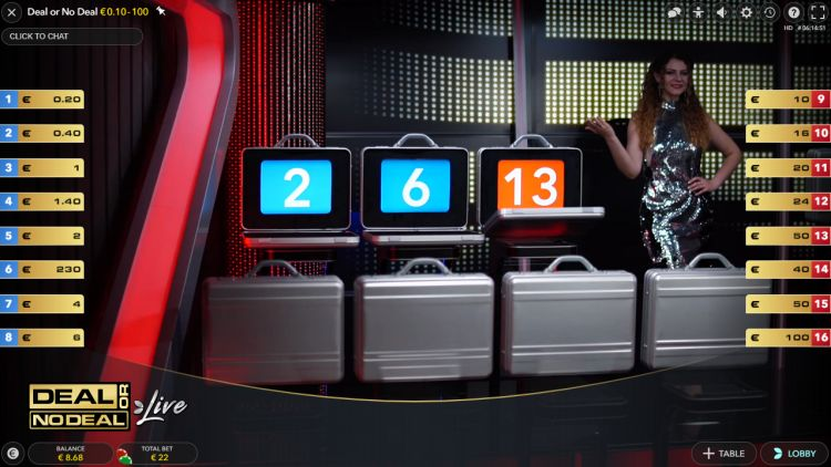 Deal or No Deal Live at CasinoFisher